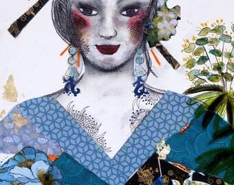 "Turquoise  Abstract Painting, Contemporary art, Acrylics, Original Art, ""Irezumi, Mixed Medias, Portrait, Turquoise Canvas"