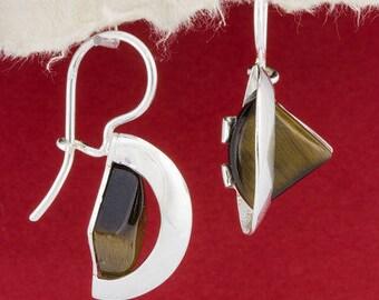 Tiger Eye Silver Earrings/ Silver Earrings/ Handmade Earrings/ 925 Silver Earrings/ Sterling Silver Earrings/Tiger Eye Earrings/EKWS106