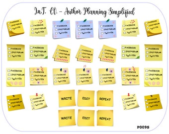 Author Planner Stickers - Check Box Posties