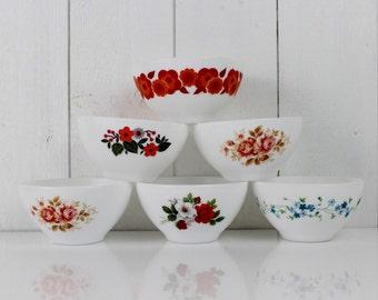 ARCOPAL Cafe au lait bowl - France, Arcopal bowl, Milk glass bowl, Veronica, Lotus, For One, E018