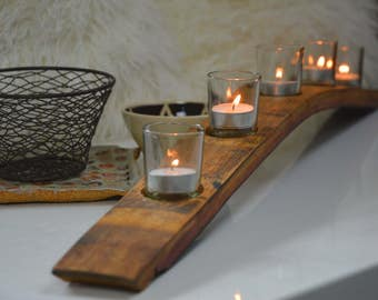 Wine Barrel Stave Candle Holder