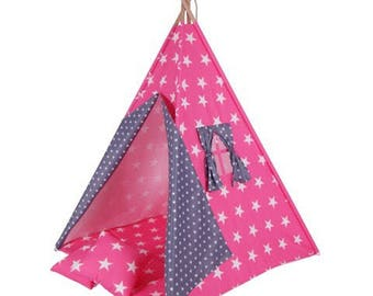 Play tent tipi Goggly asterisk pink