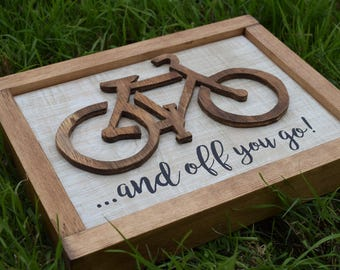Bicycle wood sign