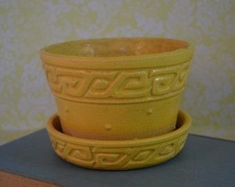 McCoy Hobnail with Greek Key, Yellow Flower Pot, Glossy Flowerpot, Violet Pot