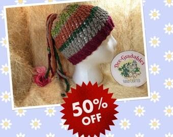 SALE Hemp Festival hat, hemp beaded dreadlocks with wooden beads, dreadlocks hat