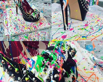 Custom Abstract Fashion Shoe Neon Color 10x10inch Painting