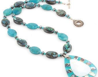 Turquoise and Paua Shell Necklace with Paua and Mother-of-Pearl Pendant