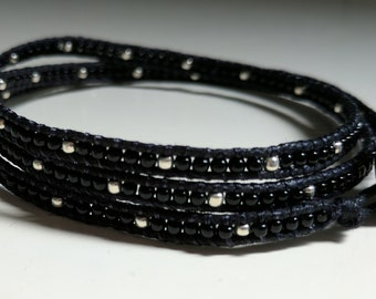 Silver Studded Beaded Wrap Bracelet