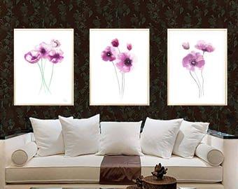 Poppy pink Poppy art print Poppy watercolor painting Poppy home decor Poppy Set 3 Poppies Abstract flower poppy wall decor poppy minimalist