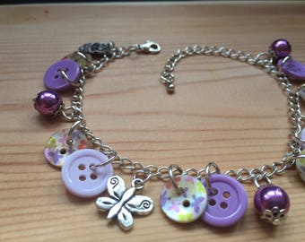 Purple Flower Button Charm Bracelet