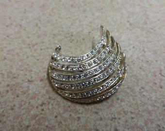 Vintage Glitzy Diamante Silver Smile Brooch - Kitsch Boho Retro