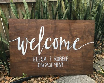 Custom Caligraphy Engagement or Wedding Welcome Sign