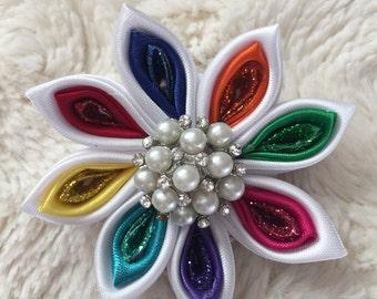 Kanzashi Rainbow Ribbon Hair Bow