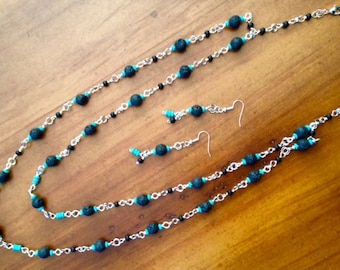 Earrings and Double Layer Necklace, Turquoise Jewelry, Black Jewelry, Unique Jewelry
