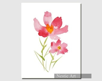 cosmos - flower, Pink, plants, watercolor, popular flower, wall art, watercolor flower, for her, for friends, for children, fall, autumn