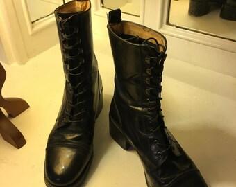 Gorgeous Black Leather Pegabo Combat Boots