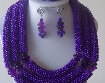3 layered purple star beads set