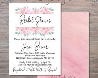Pink Floral Watercolor Bridal Shower Invitation, Floral Wedding Shower Invitation, Bridal Shower Invite, Watercolor Bridal Shower