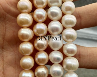 AA 11-12mm diy white large Pearl beads near round pearl beads,pearl strands,wholesale,YSHPT-2A-11-PT-00