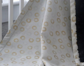 Gold,Silver and Black Circles Glam Baby Blanket/ Crib Bedding/Black Rose Cuddle