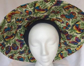 Women's vibrant butterfly print sun visor