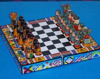Chess Set Incas Mayan Aztec Indian Style Spanish Conquistador
