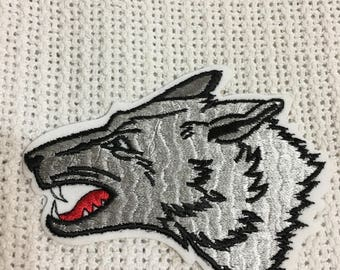 Gray WOLF HEAD Profile Detailed PATCH Mint Vintage Condition