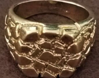 Vintage 1950's Mens Uncas Stylish 14K Gold Plated Nugget Ring
