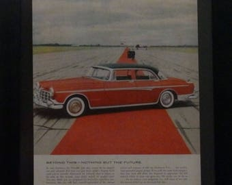 Chrysler Imperial, 1955, Red- Black, White Wall Tires, TWA, Vintage Car Ad, Garage Decor, Classic Car,Man Cave Decor, Mad Men Decor,