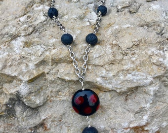 Essential Oil Jewelry, Aromatherapy Necklace, Lava Stone Diffuser Necklace, Lampwork Glass, Handcrafted