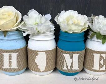 Home Mason Jar Decor // Mason Jars // Cabin Decor // Mason Jar Decor // Mason Jar Centerpieces // Burlap Mason Jars // Gift