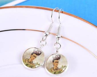 Frida Kahlo Glass Cabochon Drop Earrings