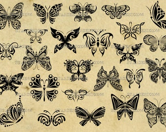 Digital SVG PNG JPG Butterfly, clipart, vector, silhouette, instant download