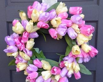 Glorious Pastel Tulip Wreath