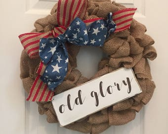 Tan Burlap Old Glory Wreath, Patriotic Wreath, Americana Wreath, Memorial Day, July 4th
