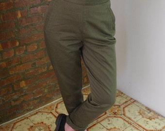 90's Katherine Hamnett khaki military high waisted pants Sz 32