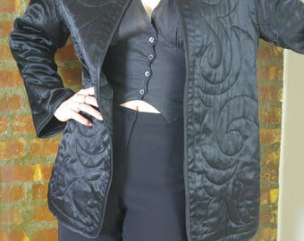 BLACK satin quilted satin chinoiserie jacket