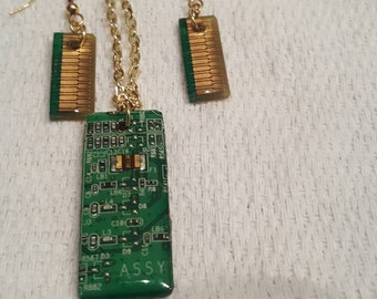 Recycled circuit board  Necklace and earrings. Hand-crafted by me.