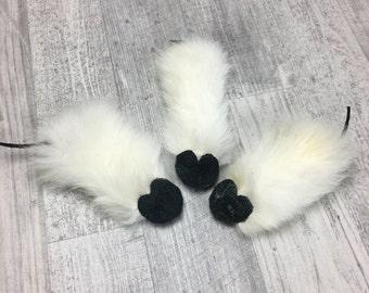 Cat toys | 3pc Rabbit fur flat mice | Rabbit skin cat toy | Rabbit fur cat toy | Cat toss toy | Durable cat toy | Lure cat toy