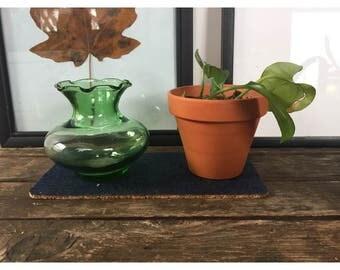 Plant Coaster - Denim and Cork