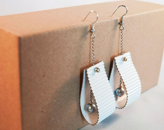 White paper earrings, handmade, ecofriendly