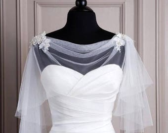 Bridal Wedding Ivory or White Tulle Lace Cape Bolero Shrug  Shawl