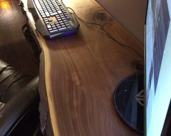 Rustic Live Edge Floating Desk