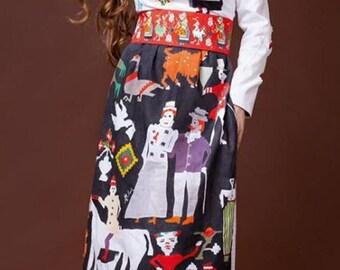 "Hand Painted Long Dress - ""La Cingatoare"" Collection by Irina MADAN / 100% Handmade Dress"