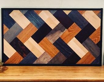 Rustic Reclaimed Laminate Wood Wall Hanging, Herring Bone Pattern, Geometric Art