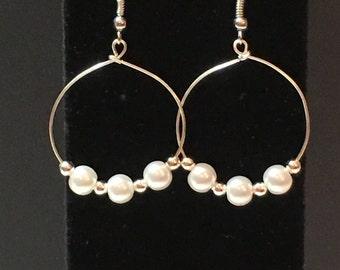 Handmade, Pearl Hoop Earrings