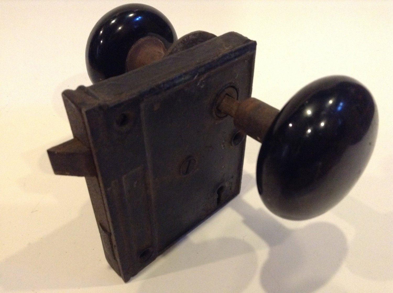 Vintage Black Porcelain Door Knob Set with Lock Box and Rosette ...