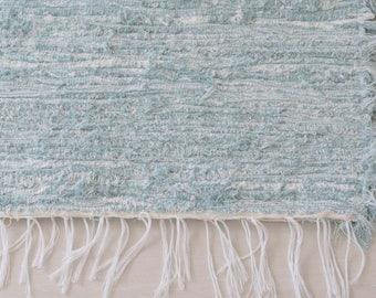 MEDIUM Woven Rag Rug, blue, Handwoven Carpet, Handwoven Rug, Throw Rug, Boho Rug, handmade in Portugal.