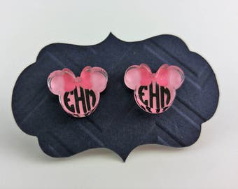 Personalized Minnie Mouse Stud Earrings in Clear Acrylic