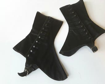 Victorian ladies spats black silk boot covers